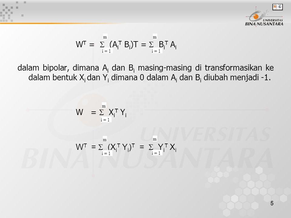 6 DECODING (Bipolar) Decoding atau operasi pemanggilan (recall) dapat dirumuskan sebagai berikut: X i =  (Y i W T ) Y i =  (X i W) dimana  adalah fungsi threshold untuk X ik dan Y jk : X ik 1, jika Y i W k T > 0 -1, jika Y i W k T < 0 Y jk 1, jika Y i W k T > 0 -1, jika Y i W k T < 0