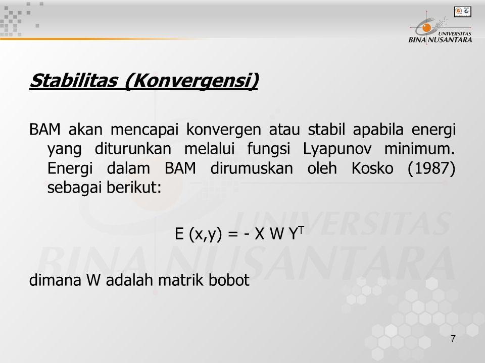 7 Stabilitas (Konvergensi) BAM akan mencapai konvergen atau stabil apabila energi yang diturunkan melalui fungsi Lyapunov minimum. Energi dalam BAM di