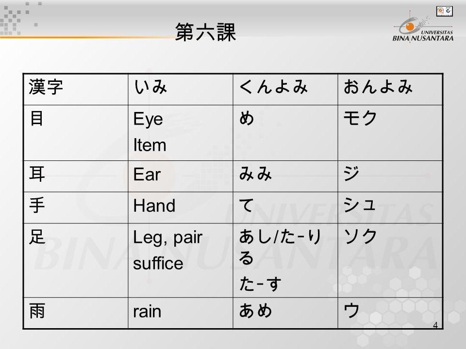 4 第六課 漢字いみくんよみおんよみ 目 Eye Item めモク 耳 Ear みみジ 手 Hand てシュ 足 Leg, pair suffice あし / たーり る たーす ソク 雨 rain あめウ