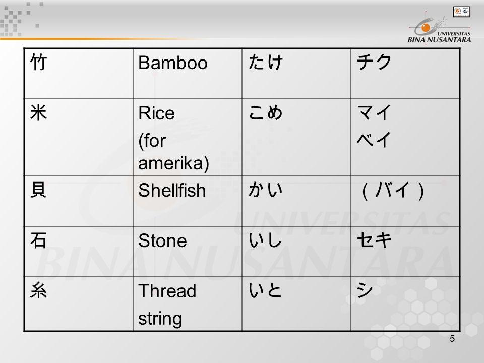 5 竹 Bamboo たけチク 米 Rice (for amerika) こめマイ ベイ 貝 Shellfish かい(バイ) 石 Stone いしセキ 糸 Thread string いとシ