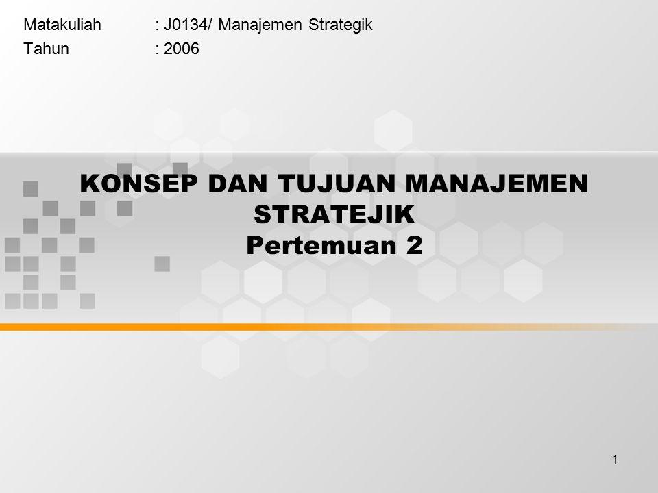 1 KONSEP DAN TUJUAN MANAJEMEN STRATEJIK Pertemuan 2 Matakuliah: J0134/ Manajemen Strategik Tahun: 2006