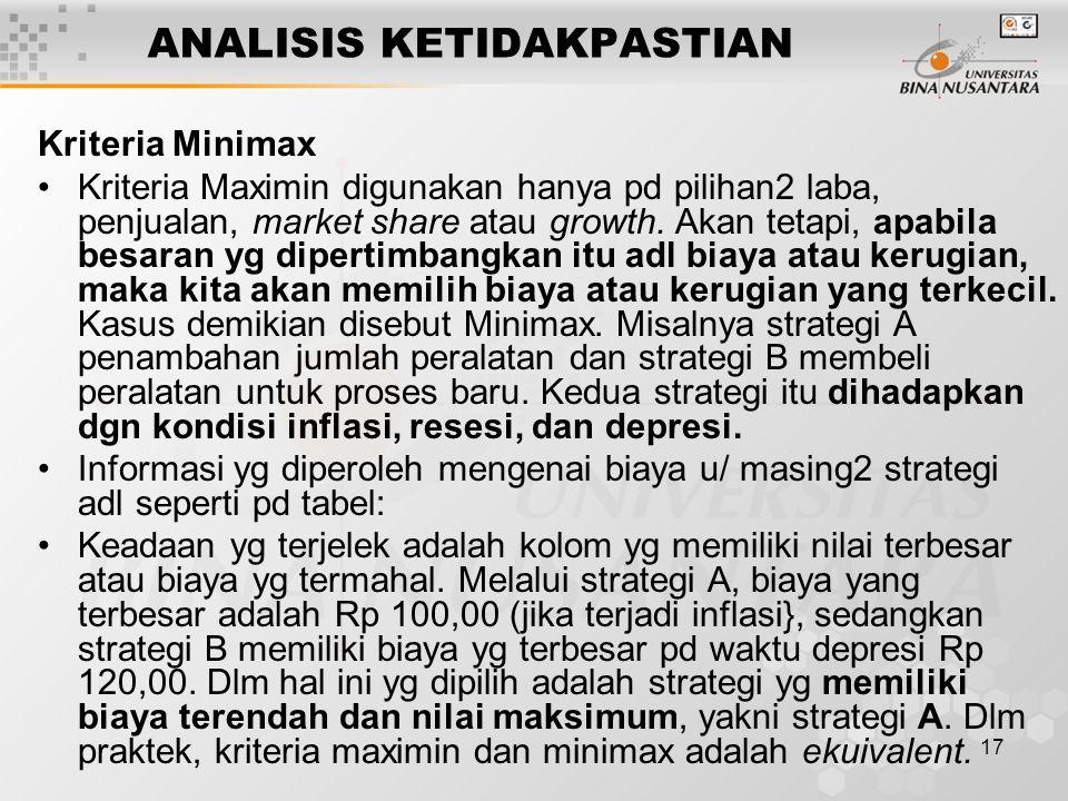 17 ANALISIS KETIDAKPASTIAN Kriteria Minimax Kriteria Maximin digunakan hanya pd pilihan2 laba, penjualan, market share atau growth. Akan tetapi, apabi