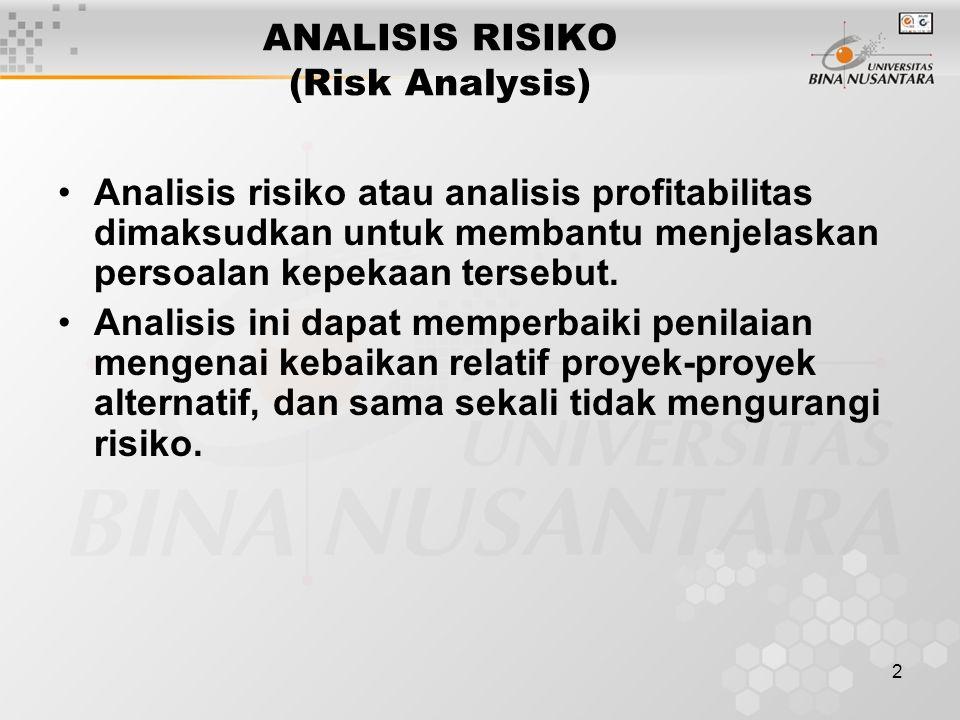 2 ANALISIS RISIKO (Risk Analysis) Analisis risiko atau analisis profitabilitas dimaksudkan untuk membantu menjelaskan persoalan kepekaan tersebut. Ana