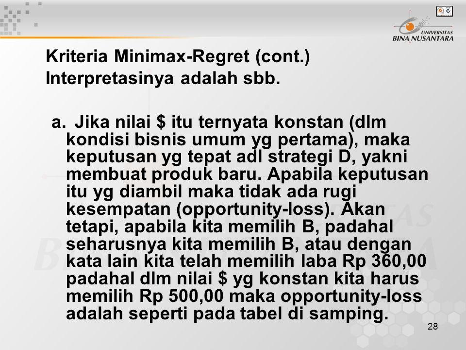 28 Kriteria Minimax-Regret (cont.) Interpretasinya adalah sbb. a.Jika nilai $ itu ternyata konstan (dlm kondisi bisnis umum yg pertama), maka keputusa