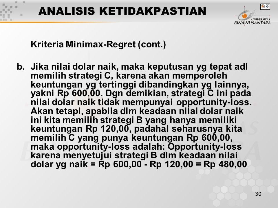 30 ANALISIS KETIDAKPASTIAN Kriteria Minimax-Regret (cont.) b. Jika nilai dolar naik, maka keputusan yg tepat adl memilih strategi C, karena akan mempe
