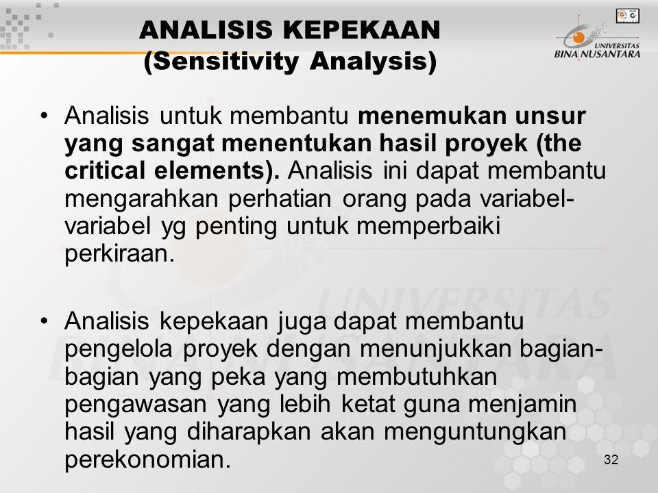 32 ANALISIS KEPEKAAN (Sensitivity Analysis) Analisis untuk membantu menemukan unsur yang sangat menentukan hasil proyek (the critical elements). Anali