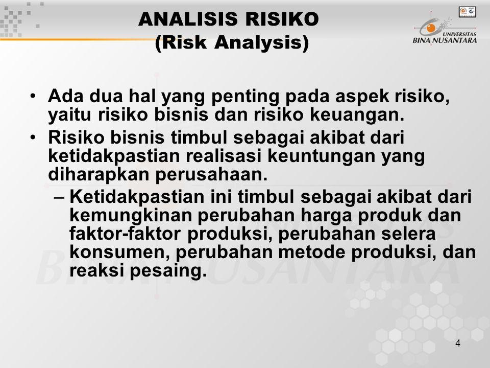 4 ANALISIS RISIKO (Risk Analysis) Ada dua hal yang penting pada aspek risiko, yaitu risiko bisnis dan risiko keuangan. Risiko bisnis timbul sebagai ak