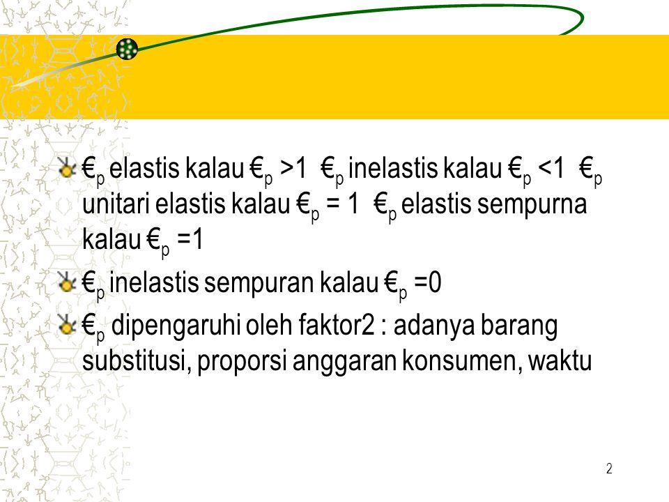 2 € p elastis kalau € p >1 € p inelastis kalau € p <1 € p unitari elastis kalau € p = 1 € p elastis sempurna kalau € p =1 € p inelastis sempuran kalau € p =0 € p dipengaruhi oleh faktor2 : adanya barang substitusi, proporsi anggaran konsumen, waktu