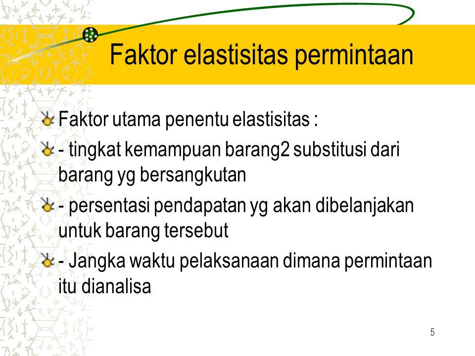 5 Faktor elastisitas permintaan Faktor utama penentu elastisitas : - tingkat kemampuan barang2 substitusi dari barang yg bersangkutan - persentasi pendapatan yg akan dibelanjakan untuk barang tersebut - Jangka waktu pelaksanaan dimana permintaan itu dianalisa