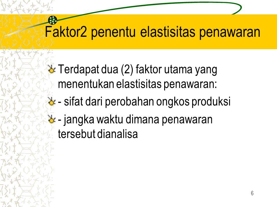 6 Faktor2 penentu elastisitas penawaran Terdapat dua (2) faktor utama yang menentukan elastisitas penawaran: - sifat dari perobahan ongkos produksi - jangka waktu dimana penawaran tersebut dianalisa