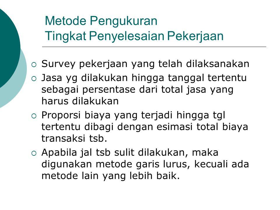 Metode Pengukuran Tingkat Penyelesaian Pekerjaan  Survey pekerjaan yang telah dilaksanakan  Jasa yg dilakukan hingga tanggal tertentu sebagai persen