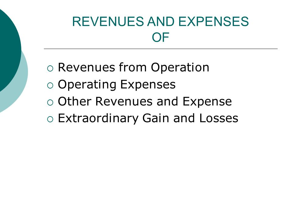 REVENUES AND EXPENSES OF  Revenues from Operation  Operating Expenses  Other Revenues and Expense  Extraordinary Gain and Losses