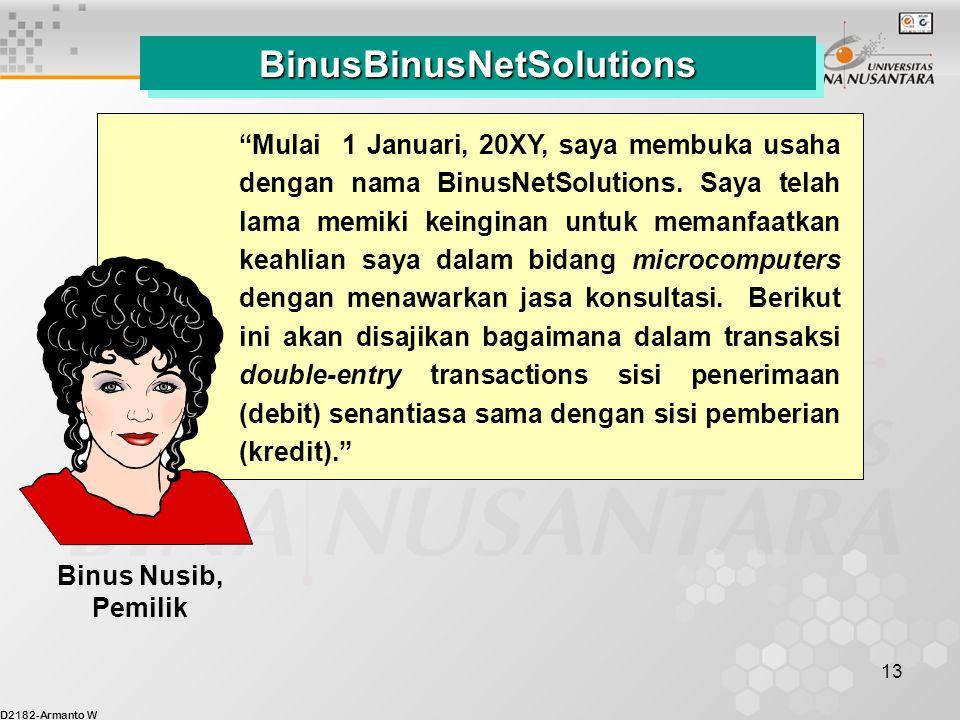 "D2182-Armanto W 13 BinusBinusNetSolutionsBinusBinusNetSolutions ""Mulai 1 Januari, 20XY, saya membuka usaha dengan nama BinusNetSolutions. Saya telah l"