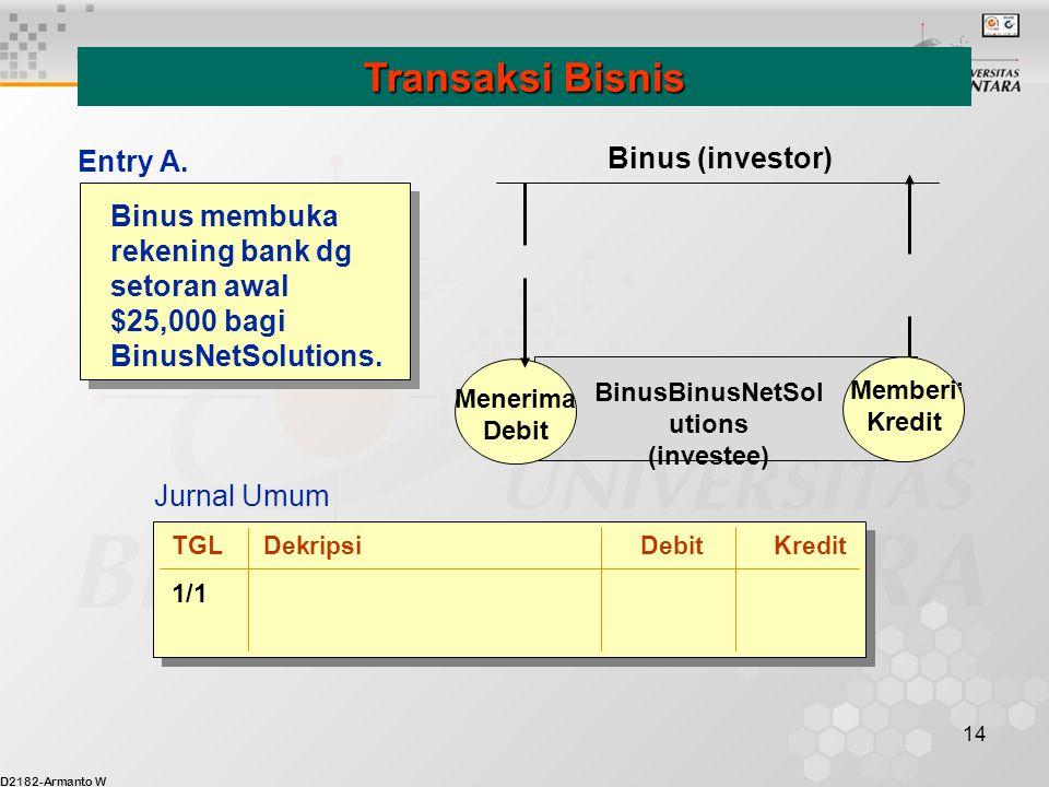 D2182-Armanto W 14 Binus membuka rekening bank dg setoran awal $25,000 bagi BinusNetSolutions. Transaksi Bisnis Jurnal Umum Menerima Debit memberi Kre