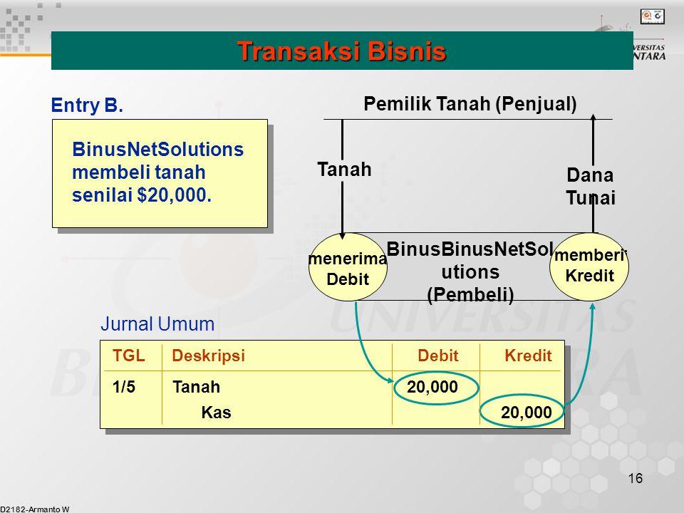 D2182-Armanto W 16 BinusNetSolutions membeli tanah senilai $20,000. Transaksi Bisnis menerima Debit memberi Kredit BinusBinusNetSol utions (Pembeli) T