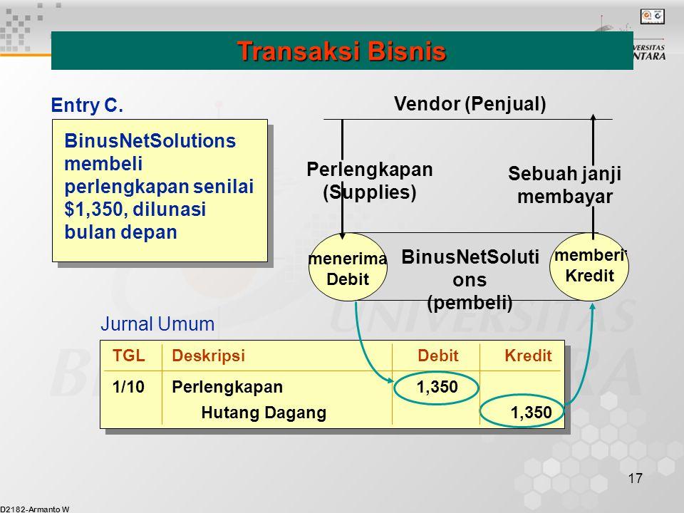 D2182-Armanto W 17 BinusNetSolutions membeli perlengkapan senilai $1,350, dilunasi bulan depan Transaksi Bisnis menerima Debit memberi Kredit BinusNet
