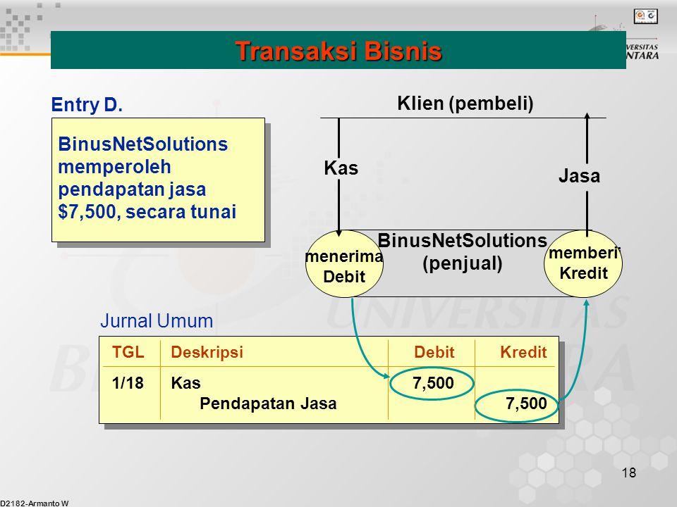 D2182-Armanto W 18 BinusNetSolutions memperoleh pendapatan jasa $7,500, secara tunai Transaksi Bisnis menerima Debit memberi Kredit BinusNetSolutions