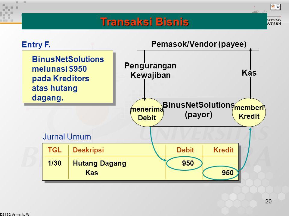 D2182-Armanto W 20 BinusNetSolutions melunasi $950 pada Kreditors atas hutang dagang. Transaksi Bisnis menerima Debit memberi Kredit BinusNetSolutions