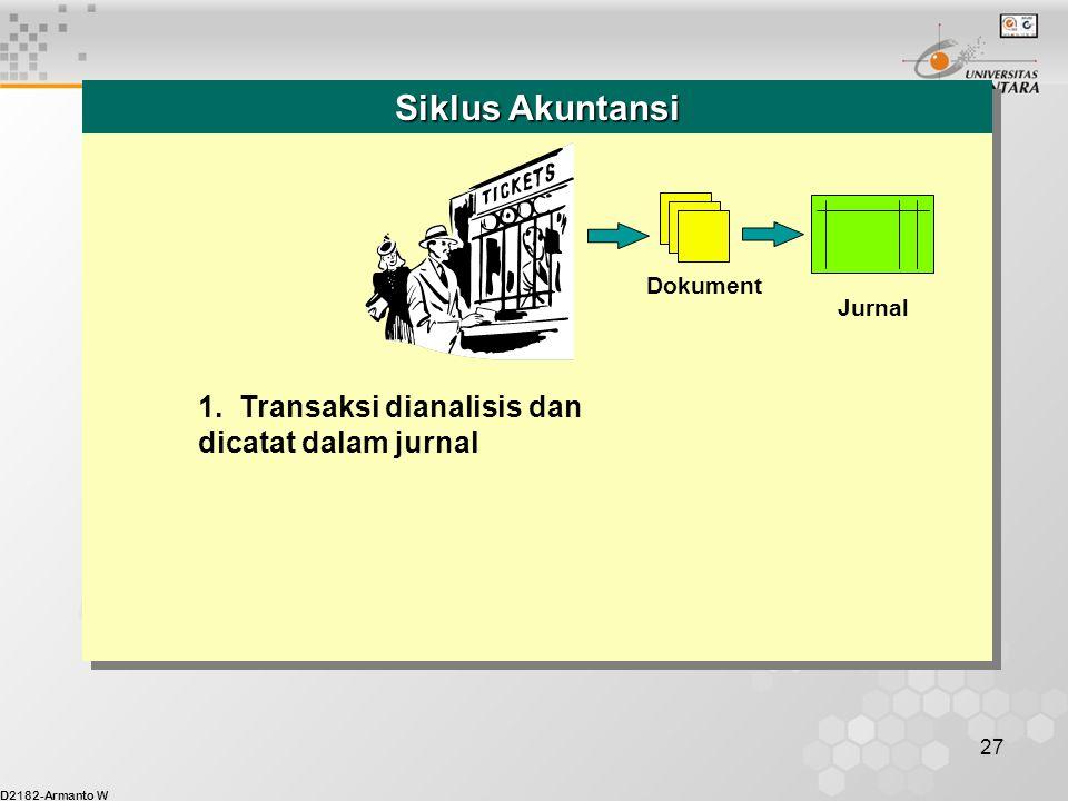 D2182-Armanto W 27 1. Transaksi dianalisis dan dicatat dalam jurnal Dokument Jurnal Siklus Akuntansi