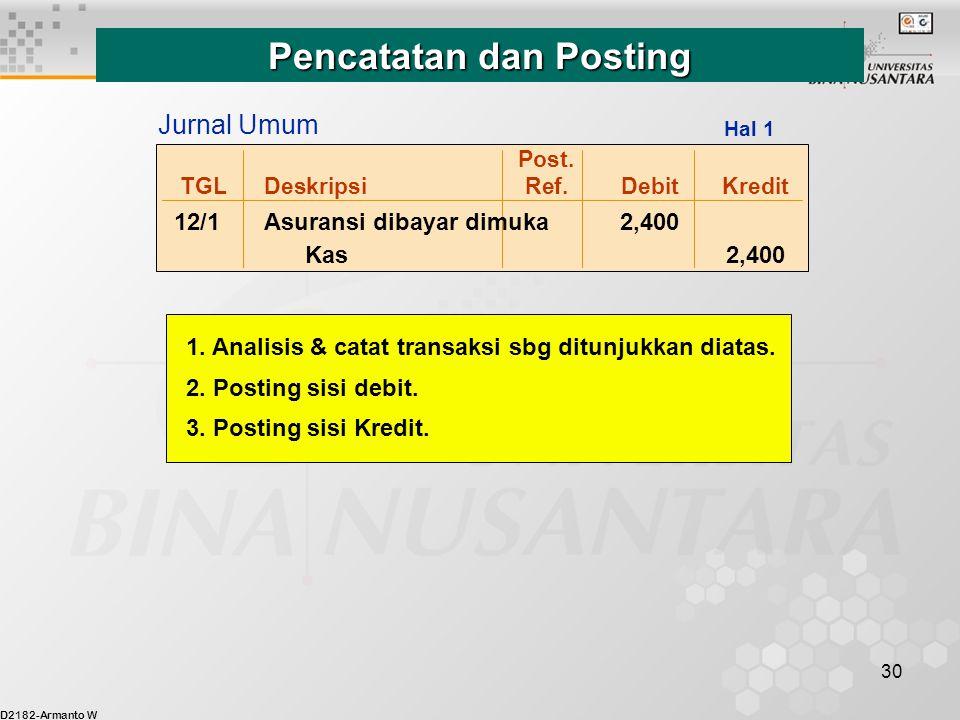 D2182-Armanto W 30 Post. TGLDeskripsiRef.DebitKredit 12/1Asuransi dibayar dimuka 2,400 Kas 2,400 Jurnal Umum Hal 1 Pencatatan dan Posting 1. Analisis
