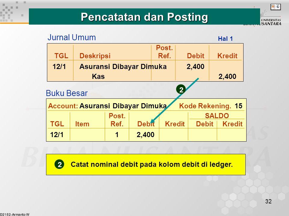 D2182-Armanto W 32 Post. TGLDeskripsiRef.DebitKredit 12/1Asuransi Dibayar Dimuka 2,400 Kas 2,400 Post. SALDO TGLItemRef.DebitKredit DebitKredit 12/11