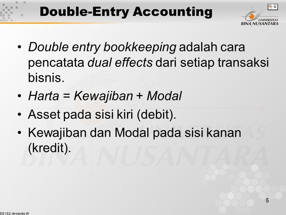 D2182-Armanto W 5 Double-Entry Accounting Double entry bookkeeping adalah cara pencatata dual effects dari setiap transaksi bisnis. Harta = Kewajiban