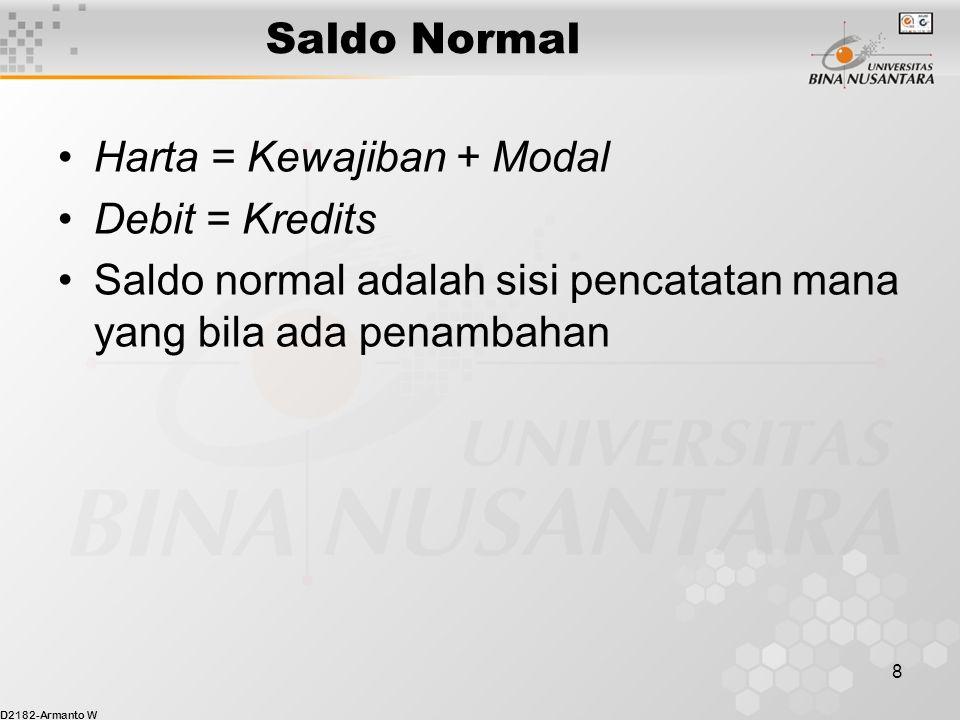 D2182-Armanto W 8 Saldo Normal Harta = Kewajiban + Modal Debit = Kredits Saldo normal adalah sisi pencatatan mana yang bila ada penambahan