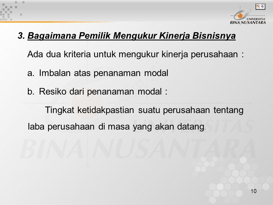 10 3. Bagaimana Pemilik Mengukur Kinerja Bisnisnya Ada dua kriteria untuk mengukur kinerja perusahaan : a.Imbalan atas penanaman modal b.Resiko dari p