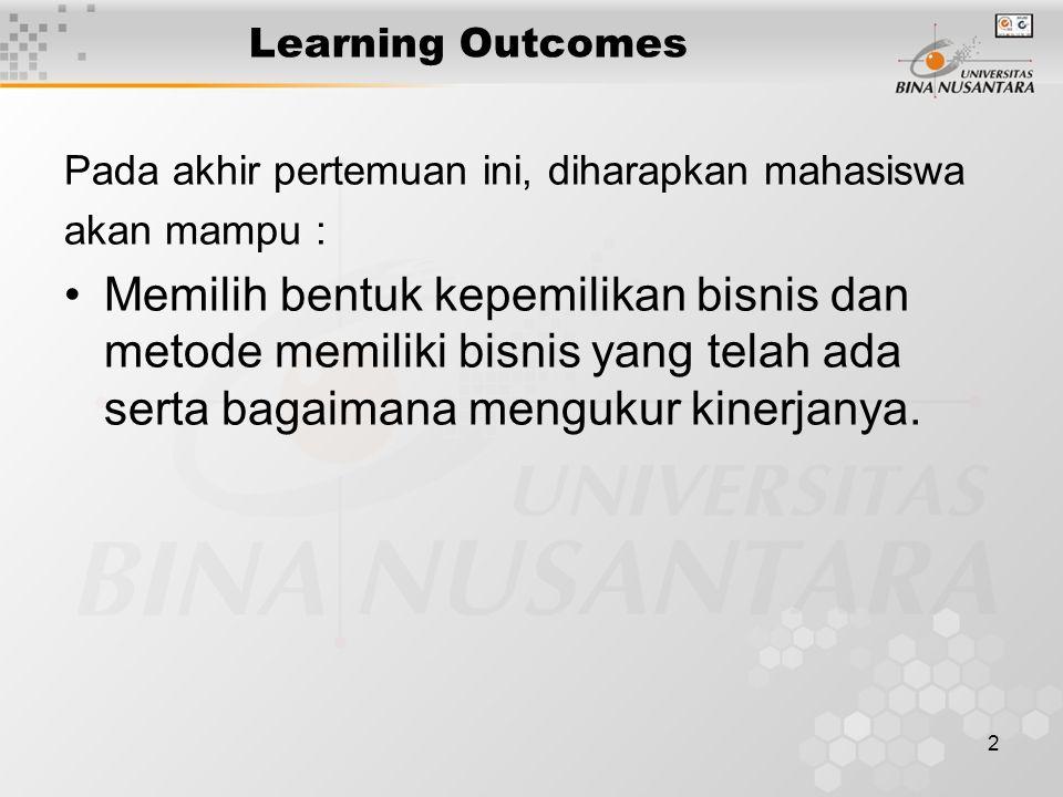 2 Learning Outcomes Pada akhir pertemuan ini, diharapkan mahasiswa akan mampu : Memilih bentuk kepemilikan bisnis dan metode memiliki bisnis yang telah ada serta bagaimana mengukur kinerjanya.