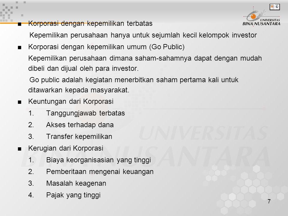 7 ■Korporasi dengan kepemilikan terbatas Kepemilikan perusahaan hanya untuk sejumlah kecil kelompok investor ■Korporasi dengan kepemilikan umum (Go Pu