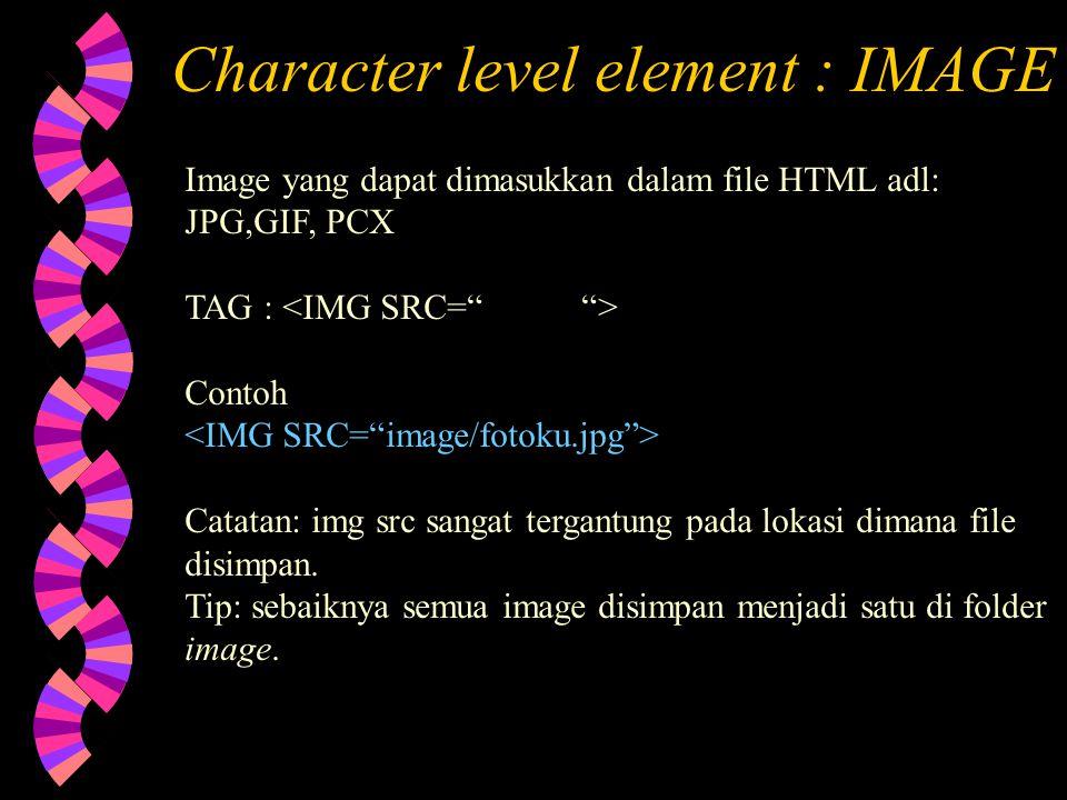 Special Element: Anchor w Tag untuk link antar page di dalam web adalah dan Contoh: Profile dosen Fak.