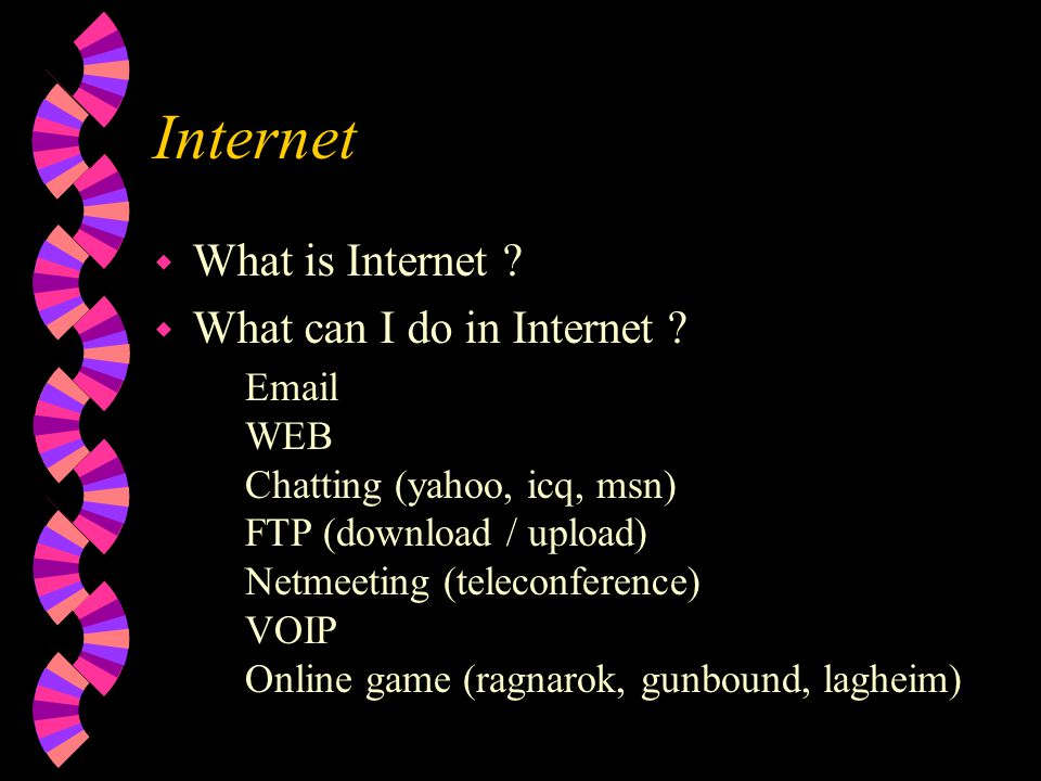 Internet w What is Internet .w What can I do in Internet .