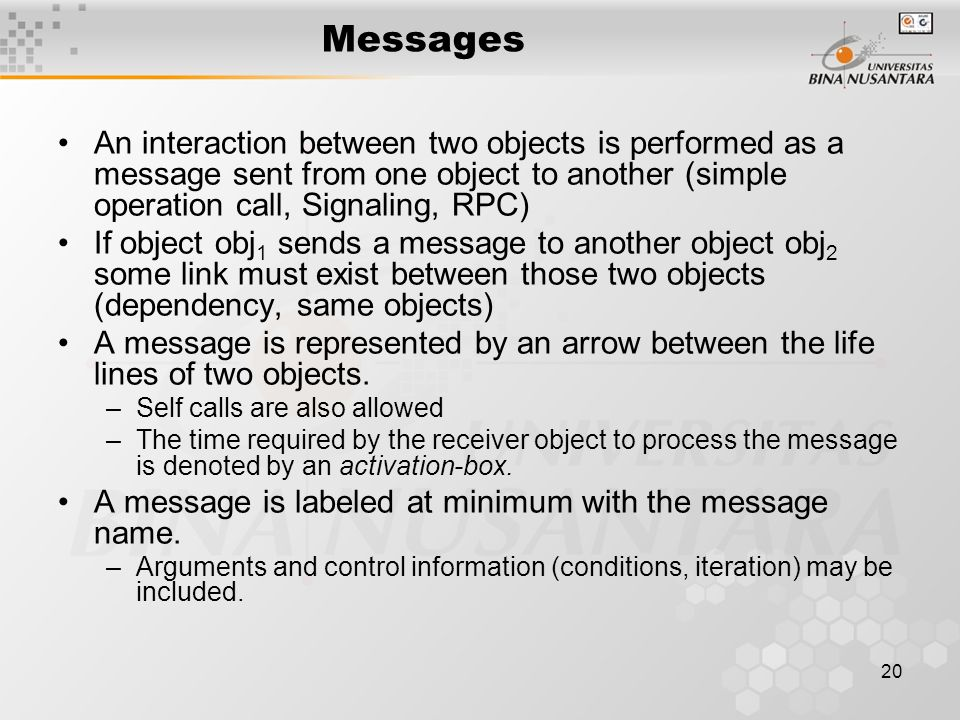 20 Messages An interaction between two objects is performed as a message sent from one object to another (simple operation call, Signaling, RPC) If object obj 1 sends a message to another object obj 2 some link must exist between those two objects (dependency, same objects) A message is represented by an arrow between the life lines of two objects.