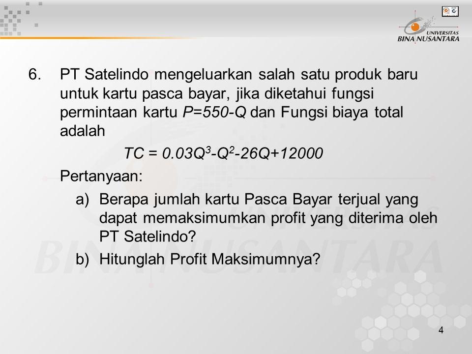 4 6. PT Satelindo mengeluarkan salah satu produk baru untuk kartu pasca bayar, jika diketahui fungsi permintaan kartu P=550-Q dan Fungsi biaya total a