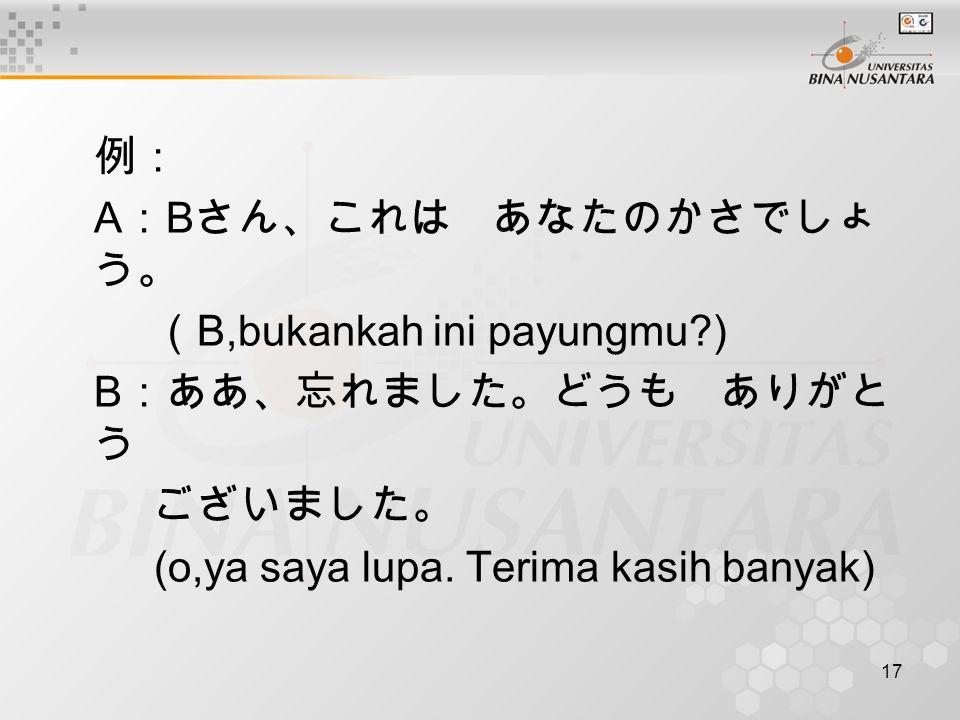 17 例: A : B さん、これは あなたのかさでしょ う。 ( B,bukankah ini payungmu?) B :ああ、忘れました。どうも ありがと う ございました。 (o,ya saya lupa. Terima kasih banyak)
