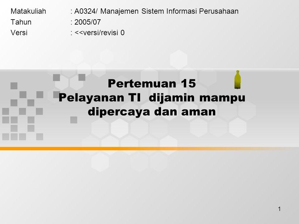 1 Pertemuan 15 Pelayanan TI dijamin mampu dipercaya dan aman Matakuliah: A0324/ Manajemen Sistem Informasi Perusahaan Tahun: 2005/07 Versi: <<versi/re