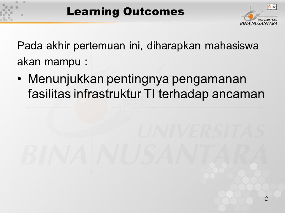 2 Learning Outcomes Pada akhir pertemuan ini, diharapkan mahasiswa akan mampu : Menunjukkan pentingnya pengamanan fasilitas infrastruktur TI terhadap ancaman