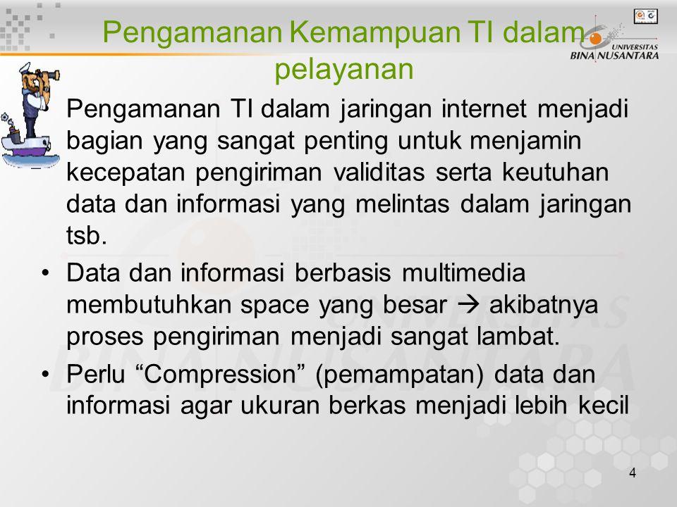 4 Pengamanan Kemampuan TI dalam pelayanan Pengamanan TI dalam jaringan internet menjadi bagian yang sangat penting untuk menjamin kecepatan pengiriman validitas serta keutuhan data dan informasi yang melintas dalam jaringan tsb.