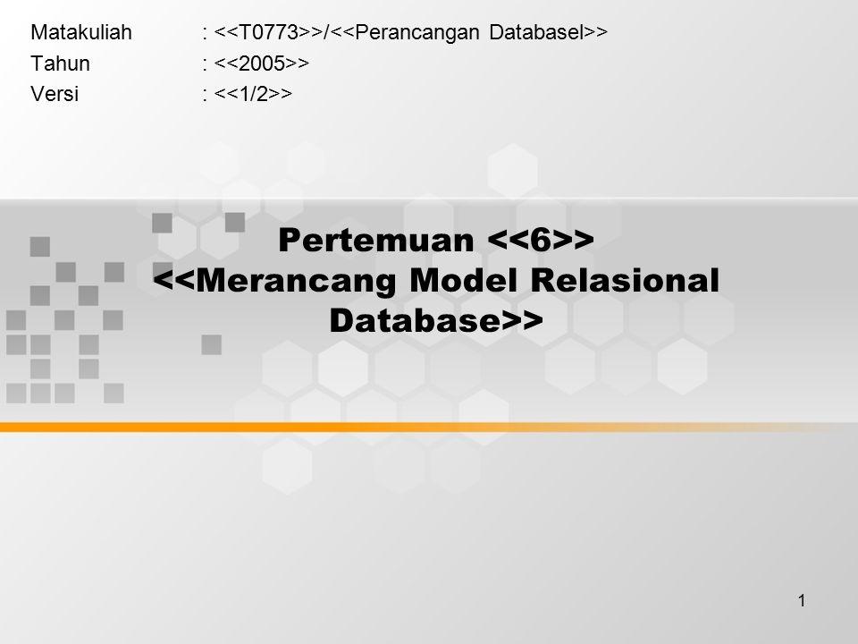 2 Learning Outcomes Pada akhir pertemuan ini, diharapkan mahasiswa akan mampu : > Mahasiswa dapat menghasilkan model data relasional berdasarkan suatu model konseptual database (C3)
