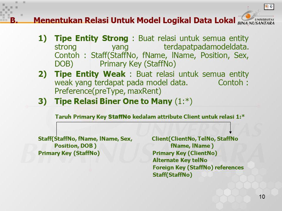 10 B.Menentukan Relasi Untuk Model Logikal Data Lokal 1)Tipe Entity Strong : Buat relasi untuk semua entity strong yang terdapatpadamodeldata.