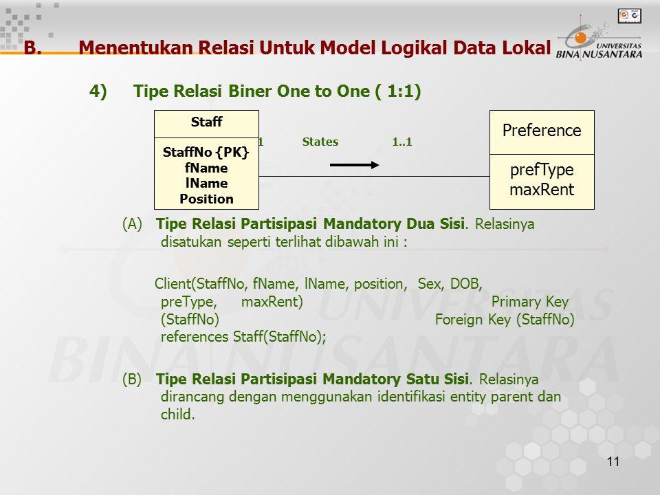 11 B.Menentukan Relasi Untuk Model Logikal Data Lokal 4)Tipe Relasi Biner One to One ( 1:1) 1..1 States 1..1 (A) Tipe Relasi Partisipasi Mandatory Dua Sisi.