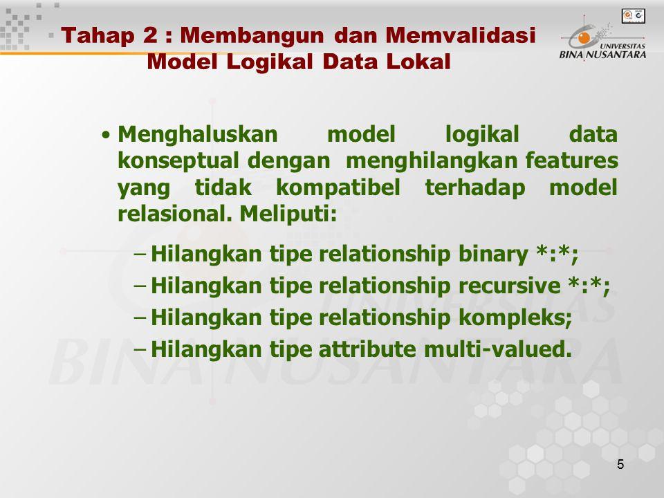 5 Tahap 2 : Membangun dan Memvalidasi Model Logikal Data Lokal Menghaluskan model logikal data konseptual dengan menghilangkan features yang tidak kompatibel terhadap model relasional.