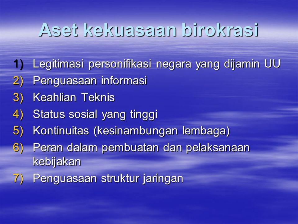 Aset kekuasaan birokrasi 1)Legitimasi personifikasi negara yang dijamin UU 2)Penguasaan informasi 3)Keahlian Teknis 4)Status sosial yang tinggi 5)Kontinuitas (kesinambungan lembaga) 6)Peran dalam pembuatan dan pelaksanaan kebijakan 7)Penguasaan struktur jaringan