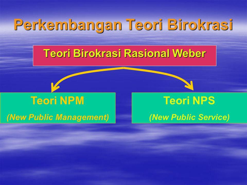 Perkembangan Teori Birokrasi Teori Birokrasi Rasional Weber Teori NPM (New Public Management) Teori NPS (New Public Service)