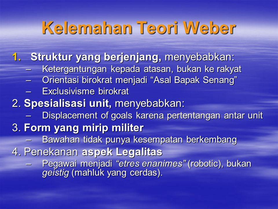 Kelemahan Teori Weber 1.Struktur yang berjenjang, menyebabkan: –Ketergantungan kepada atasan, bukan ke rakyat –Orientasi birokrat menjadi Asal Bapak Senang –Exclusivisme birokrat 2.