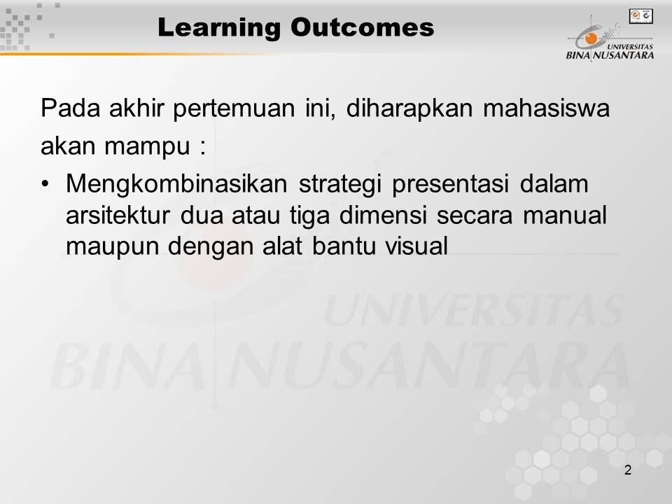 2 Learning Outcomes Pada akhir pertemuan ini, diharapkan mahasiswa akan mampu : Mengkombinasikan strategi presentasi dalam arsitektur dua atau tiga dimensi secara manual maupun dengan alat bantu visual
