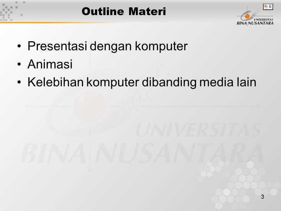 3 Outline Materi Presentasi dengan komputer Animasi Kelebihan komputer dibanding media lain