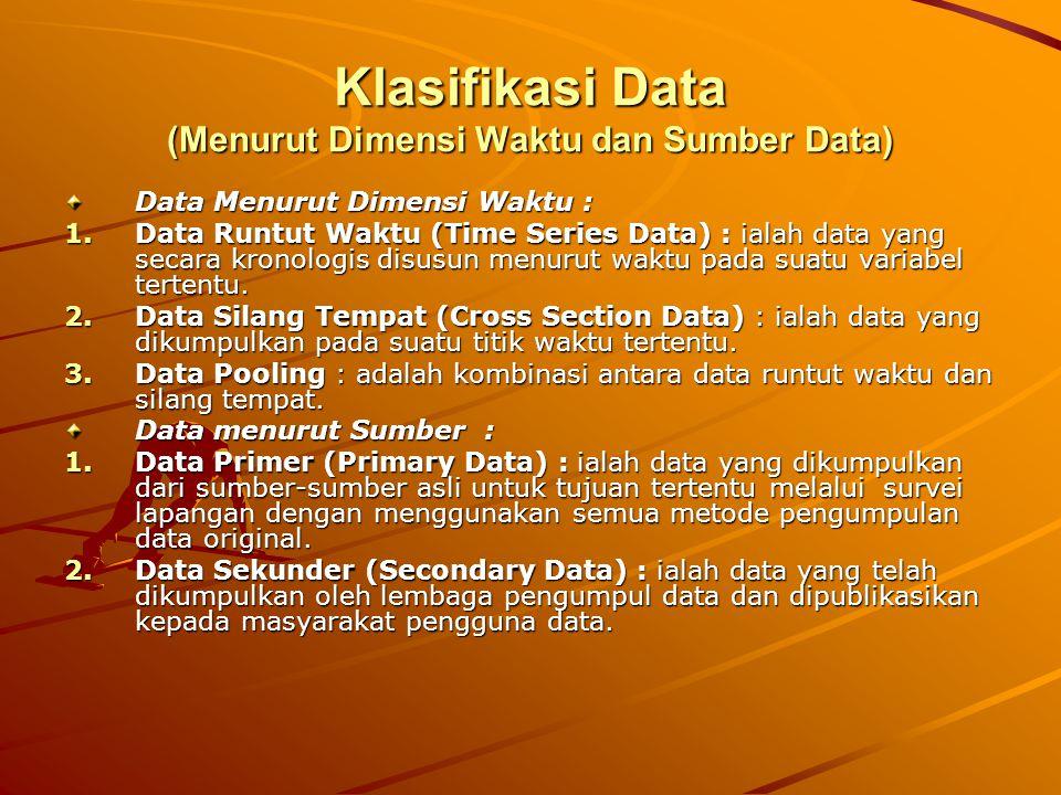 Klasifikasi Data (Menurut Dimensi Waktu dan Sumber Data) Data Menurut Dimensi Waktu : 1.Data Runtut Waktu (Time Series Data) : ialah data yang secara