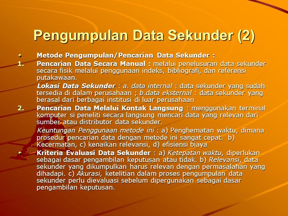 Pengumpulan Data Sekunder (2) Metode Pengumpulan/Pencarian Data Sekunder : 1.Pencarian Data Secara Manual : melalui penelusuran data sekunder secara f