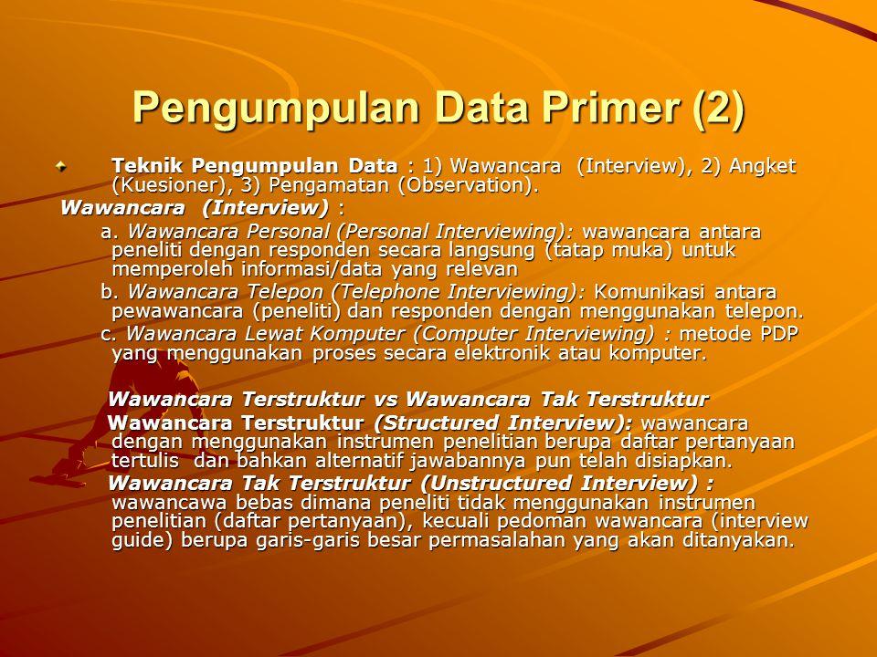 Pengumpulan Data Primer (2) Teknik Pengumpulan Data : 1) Wawancara (Interview), 2) Angket (Kuesioner), 3) Pengamatan (Observation). Wawancara (Intervi